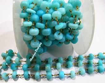 Natural Blue Opal Smooth Beaded Chain , Peruvian Opal Beads Rosary Chain 7-8mm , Wire Wrapped Beaded Chain , Sold per Foot- Wholesale Rate.