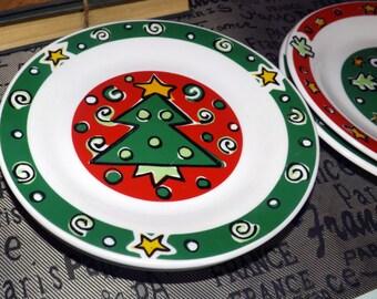 Vintage (c.1996) Gibson Designs Christmas Treasures salad | dessert plate. Choice of Snowman, Reindeer, Christmas tree, ornament