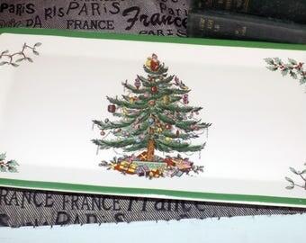 Vintage (c.1986) Spode Christmas Tree S3324 rectangular sandiwch, bread or cranberry tray. Christmas tree graphic, green edge.