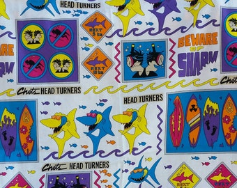 Fabulous 90's Shark fabric 2 yards, Chets Head Turners, Surfer fabric, Fish fabric, Surfboard fabric, Sewing, Quilting, Crafting