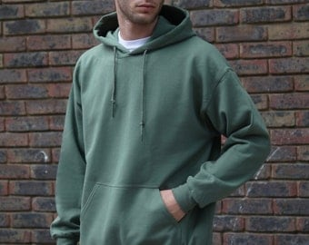 Baggy Oversized Soft Cotton Hoodie With Woven Label Detail in MIlitary Green Basic Staple Essential Streetwear RTS