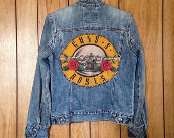 Vintage GnR Hand Studded Denim Levis Jacket