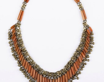 Egyptian Revival Red Coral Necklace