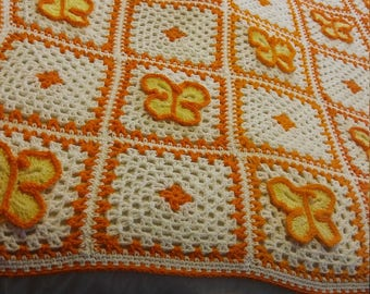 Hand crocheted butterfly afghan