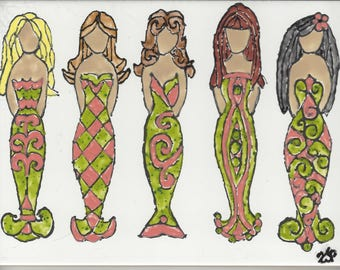 Mermaid #229 Friends Hand Painted Kiln Fired Decorative Ceramic Wall Art Tile 8x6