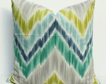 Ikat Chevron Pillow Cover - Gray, White, Green, Blue