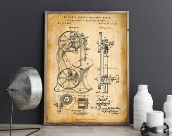 Band Saw Machine| Garage Decor| Patent Prints| Woodworking| Woodworking Poster| Carpenter Gifts| Woodworking Gifts| The Carpenter| HPH474