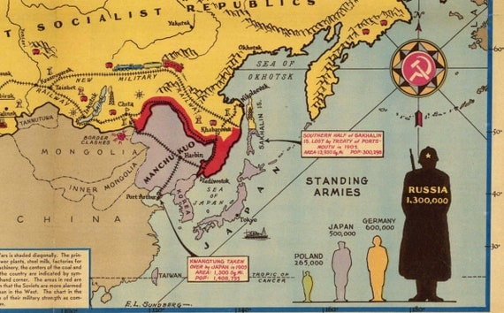 Soviet Russia Sphere Of Influence Map Before WWii Pictorial - Japan map before world war 2