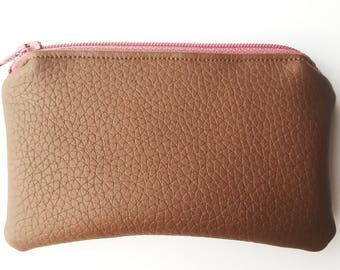 Brown - Mauve Pink Coin Purse