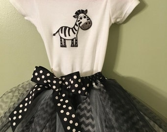 Black and white Zebra Tutu