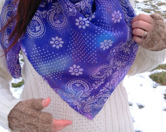 Abstract scarf--lightweight square scarf made from a recycled sari from India