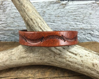 Handmade Leather Bracelet, Tooled Leather Bracelet
