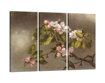 Painting on canvas with Tris Frame Martin Johnson Heade Hummingbird and Apple Blossoms