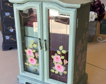 Vintage Shabby Chic Jewelry Box / Painted Jewelry Armoire / Wooden OOAK Designer Jewelry Box