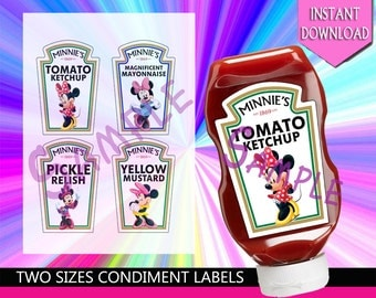 Minnie Mouse, Minne's Bow, Polks Dots, Girl Birthday Party,Disney's Minnie Heinz Condiment Bottle Labels Party Decoration - Instant Download
