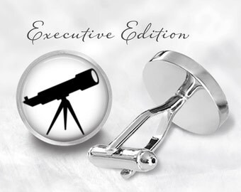 Telescope Cufflinks - Astronomy Cuff Links - Space Cufflinks - Astronomer Cufflink (Pair) Lifetime Guarantee (S0425)