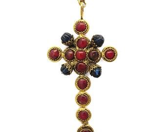 Pate-de-verre (Hand-poured-glass) Cross Pendant Necklace