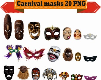 Carnival Mask Masquerade Disguise Guise Cover-up Visard Silhouette Vector Clipart PNG Digital Files Scrapbook Supplies Instant Download