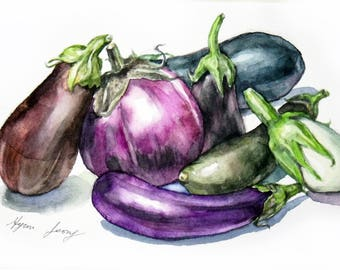 Eggplants Original Watercolor Painting Eggplant Illustration Small Vegetable Art Eggplant Art Modern