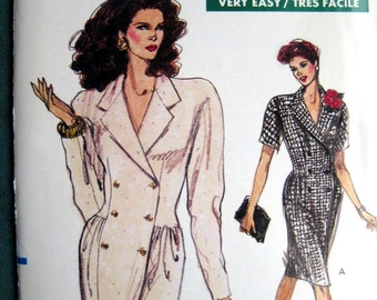 Very Easy Very Vogue Pattern Double Breasted Dress Notched Collar Short Long Sleeves sz 14-16-18 Uncut