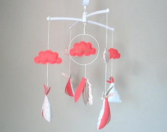 Mobile musical tipi cloud feathers customizable Golden coral pink name