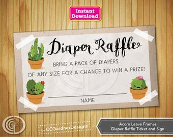 Kawaii Cactus Diaper Raffle Ticket, INSTANT DOWNLOAD, Baby Shower game, Gender Neutral,