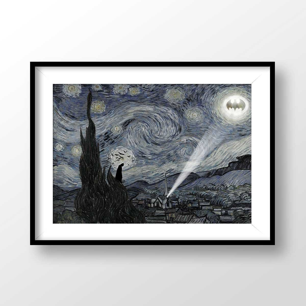 Batman Print Starry Night Batman Starry Night poster Batman