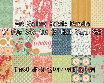 45.00 FQ Bundle OR 85.00 1/2 Yard Bundle of 17 Art Gallery Reminisce Fabrics - 100% Cotton