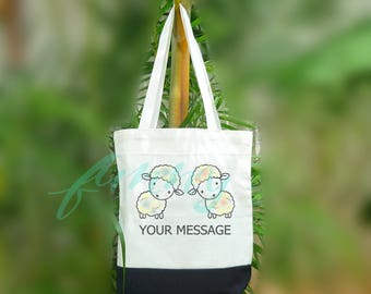 Custom tote bag sheep print tote bag 2 size Two tone off-white/black Beach tote bag Market bag