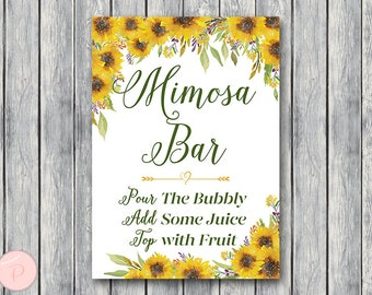 Sunflower Mimosa Bar Sign, Bubbly Bar Sign, Wedding Bar Sign, Printable Sign, Wedding Decoration Sign, Engagement Party Mimosa TH80