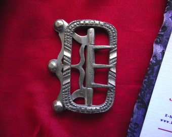 SB-0018 - Men's Silver Neck Stock Buckle - 18th Century Neck Stock, 19th Century Neck Stock Buckle