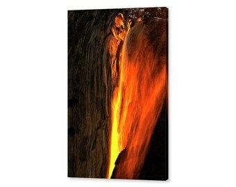 Yosemite National Park Horsetail Fall Firefall Stretched Canvas Print, Modern Wall Art Featuring Fine Art Nature Photography From Yosemite