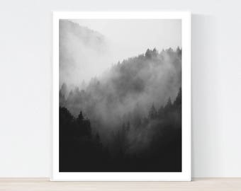 Landscape print, Forest wall art, black and white printable art of a forest with morning haze, modern printable wall art, scandinavian art