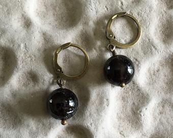 smoky quartz with brass earrings