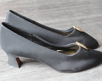 Vintage Dolce by Pierre Black Heels with Gold Decoration