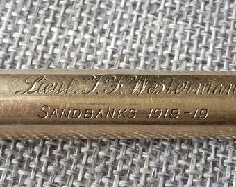 This is a large heavy stunning quality antique E Baker 9ct gold propelling pencil military connection SANDBANKS 1918- 19