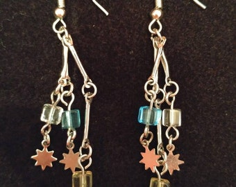 Pink, Blue, & Green Dangle Earrings
