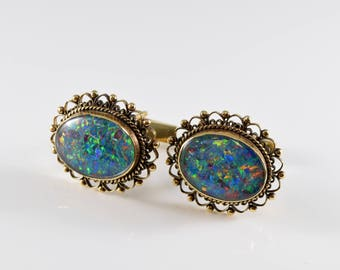 14K Yellow Gold and Lab Opal Cuff Links