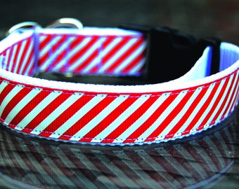 Red & White Dog Collar