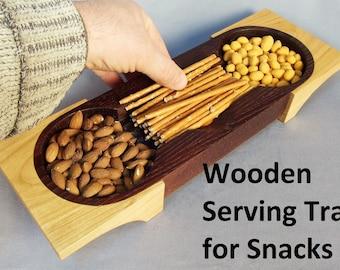 Wooden Serving Tray for Snacks, Wooden Serving Tray, Wooden Salver, Farmhouse Decor, Wood Decor, Home Decor