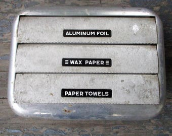 1950s Aluminum Foil Wax Paper Paper Towels Dispenser Holder Industrial Metal Kitchen Cafeteria Box Mid-Century Vintage Wall Caddy