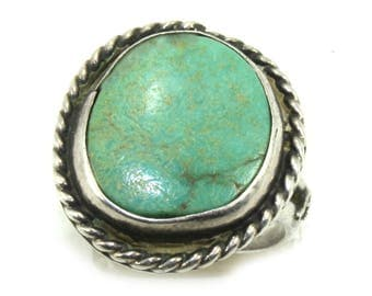 Vintage sterling silver turquoise ring, LARGE turquoise gemstone ring, turquoise jewelry, southwestern ring, Native american ring