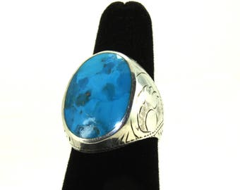 Turquoise jewelry Vintage sterling silver turquoise ring, LARGE Eagle turquoise gemstone ring, southwestern ring, Native american Biker ring