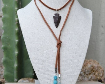 Turquoise & Arrowhead Leather Wrap Necklace