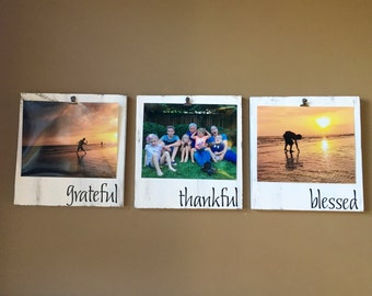 Grateful Thankful Blessed - Picture Frame Set - Picture Frame - Rustic Home Decor - Wood Signs - Wood Frames - 8x10 Picture Frame - Frame