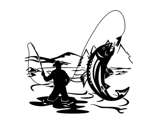 Fly fishing decal trout decal fishing decal lake life decal for Fishing vinyl decals