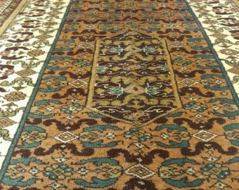 "Beautiful Vintage 1960s Turkish 4'3×7""Tribal Wool Pile Prayer Rug"