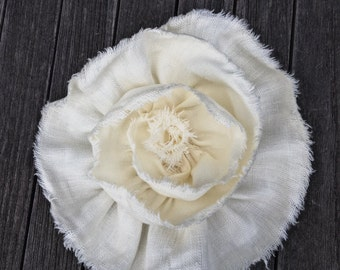 Cream Linen Fabric Flower