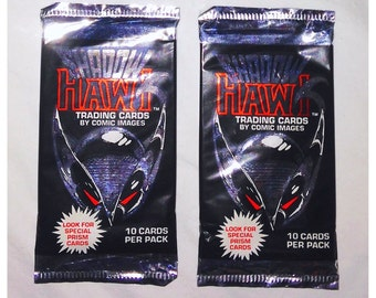 2 Packs of Shadow Hawk Trading Cards by Comic Images from 1992.