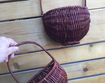 Pair of Vintage hanging baskets. Hand crafted hanging rattan baskets. Hanging rattan garden baskets. Hanging wall baskets.